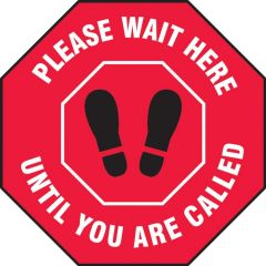 Slip-Gard Please Wait Here Until You Are Called Footprint Floor Sign