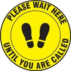 Slip-Gard Please Wait Here Until You Are Called Yellow Footprint Floor Sign