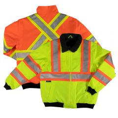 Tough Duck SJ26 Class 3 HiVis PU Coated Contrast Ripstop Sherpa Lined Safety Bomber
