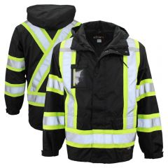 Work King S426 Class 1 Contrasting Thermal 5-in-1 Safety Jacket | Black