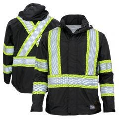 Work King SJ05 Class 1 Lightweight Packable Ripstop Rain Jacket | Black