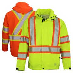 Work King SJ05 Class 3 Lightweight Packable Ripstop Rain Jacket