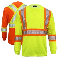 Work King SS011 Class 2 HiVis Long Sleeve Safety Henley
