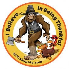 """HiVis Supply """"I Believe In Being Thankful"""" Hard Hat Stick"""