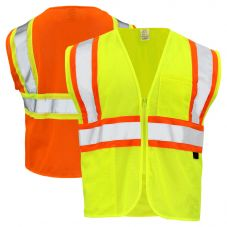 GSS Safety 1005/1006 Class 2 HiVis Contrast Mesh Zippered Safety Vest | Lime Front and Orange Back