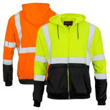 GSS Safety 7003/7004 Class 3 HiVis Black Bottom Full-Zip Hoodie Sweatshirt
