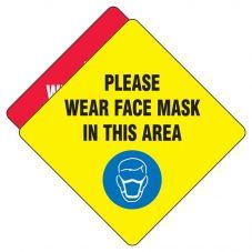 "Slip-Gard Social Distancing ""Please Wear a Face Mask"" Textured Vinyl Floor Sign"