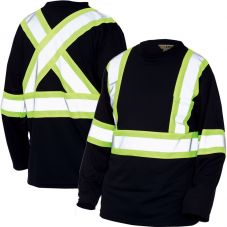 Work King S396 Micro-Mesh Long Sleeve - non-ANSI black shirt