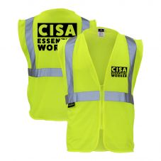 CISA Essential Critical Infrastructure Worker ANSI Class 2 HiVis Safety Vest