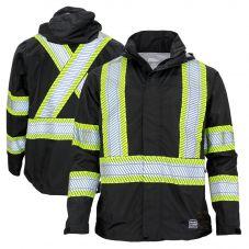 Work King SJ05 Class 1 Lightweight Packable Ripstop Rain Jacket   Black