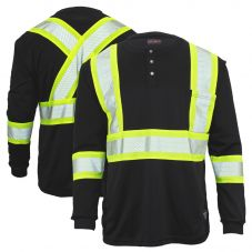 Work King SS011 Class 1 HiVis Long Sleeve Safety Henley